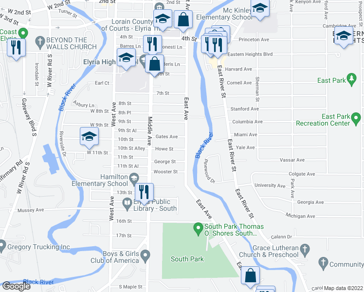 map of restaurants, bars, coffee shops, grocery stores, and more near 1015 East Avenue in Elyria
