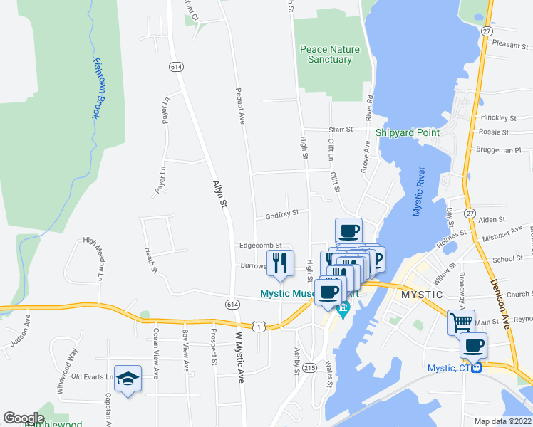 map of restaurants, bars, coffee shops, grocery stores, and more near 20 Godfrey Street in Groton