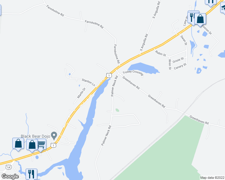 map of restaurants, bars, coffee shops, grocery stores, and more near Palmer Neck Road in Stonington