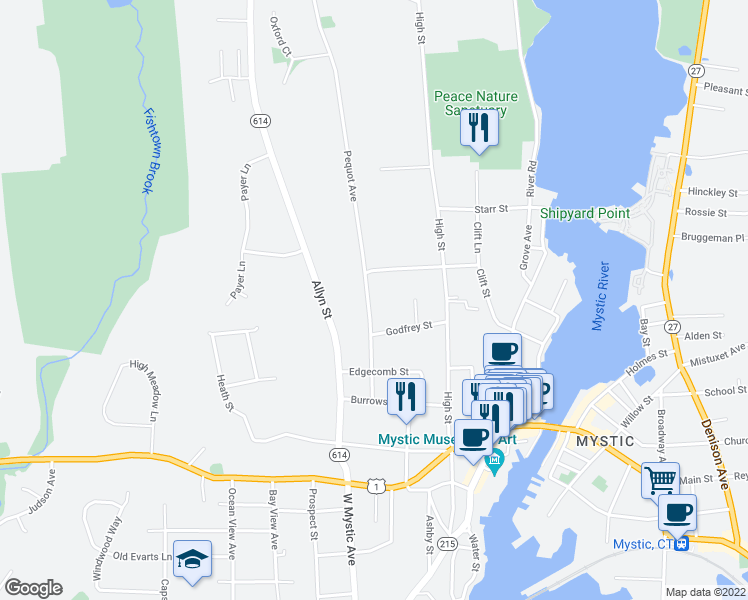 map of restaurants, bars, coffee shops, grocery stores, and more near 116 Pequot Avenue in Groton