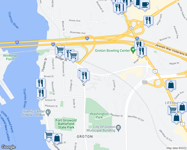 map of restaurants, bars, coffee shops, grocery stores, and more near 267 Bridge Street in Groton