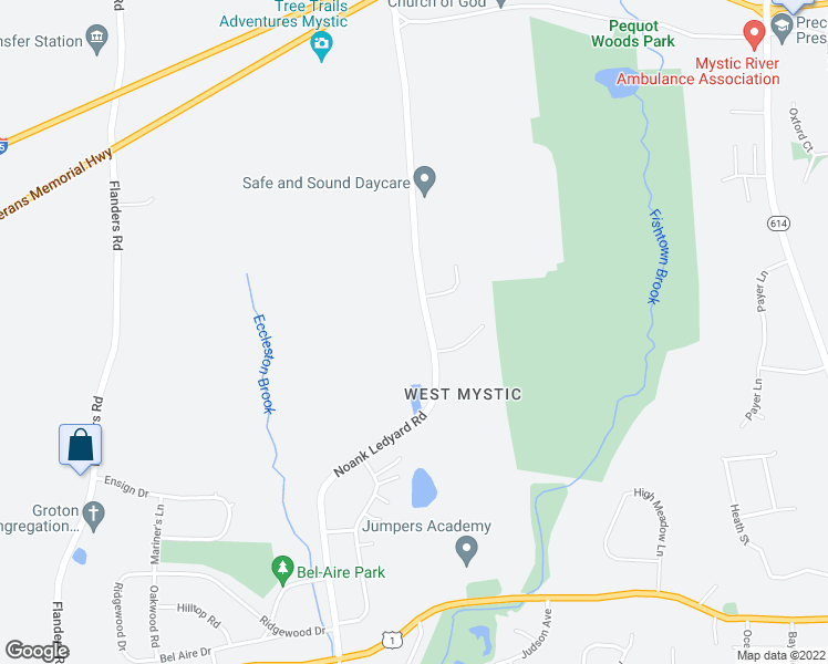 map of restaurants, bars, coffee shops, grocery stores, and more near 405 Noank Ledyard Road in Groton