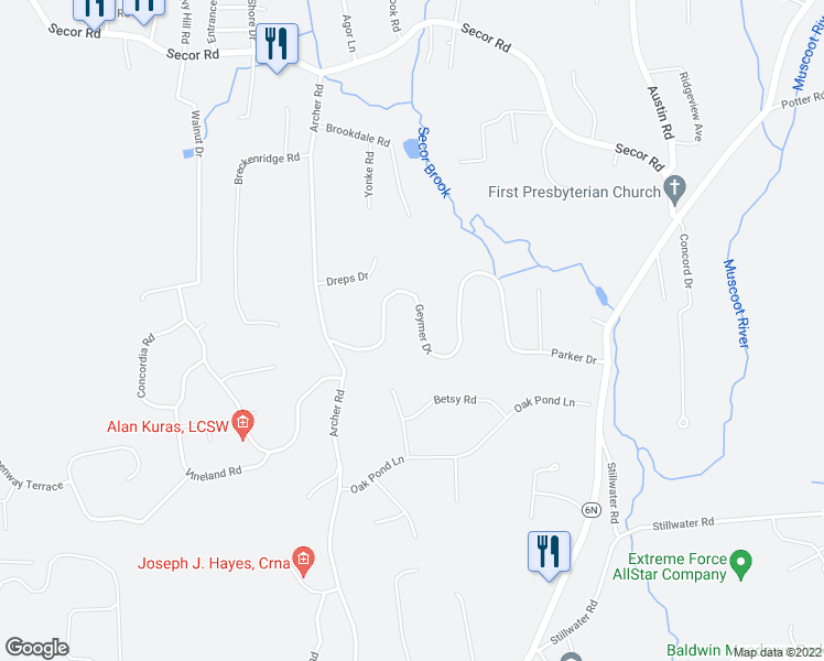 map of restaurants, bars, coffee shops, grocery stores, and more near 151 Geymer Drive in Mahopac