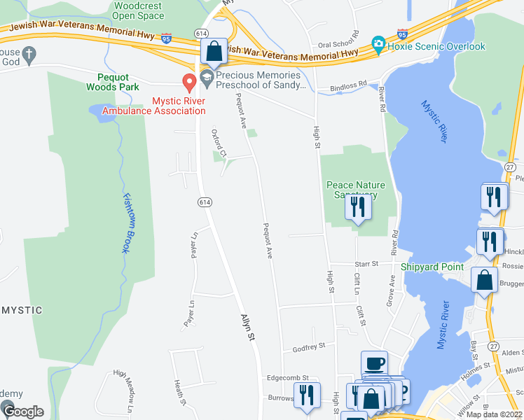 map of restaurants, bars, coffee shops, grocery stores, and more near 301 Pequot Avenue in Groton
