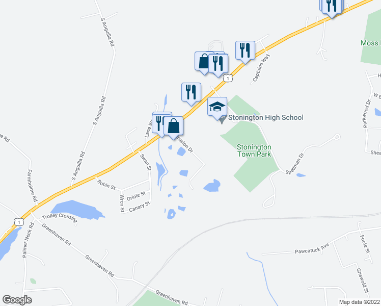map of restaurants, bars, coffee shops, grocery stores, and more near 30 Extrusion Drive in Stonington