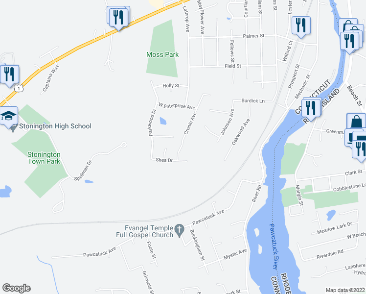 map of restaurants, bars, coffee shops, grocery stores, and more near 24 Cronin Avenue in Stonington