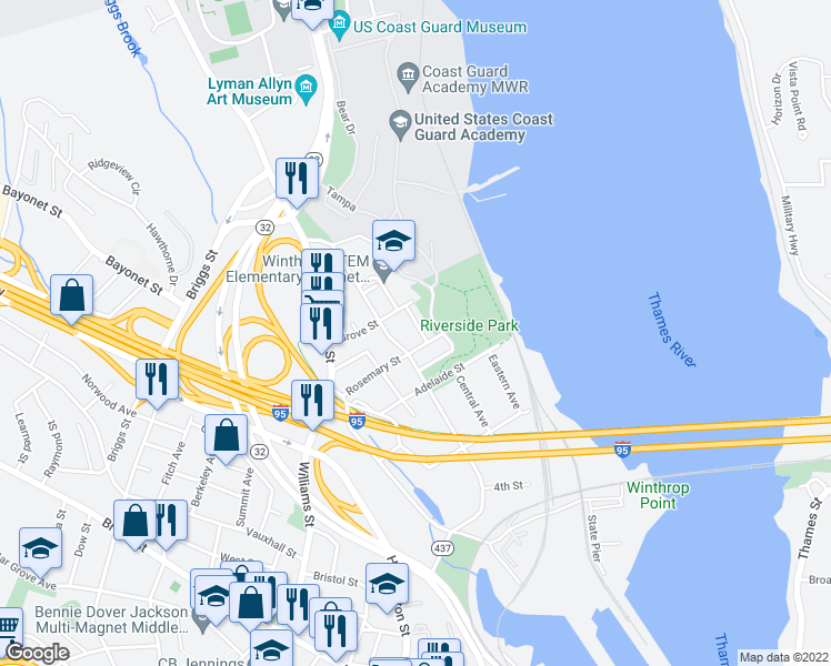 map of restaurants, bars, coffee shops, grocery stores, and more near 32 Bolles Avenue in New London