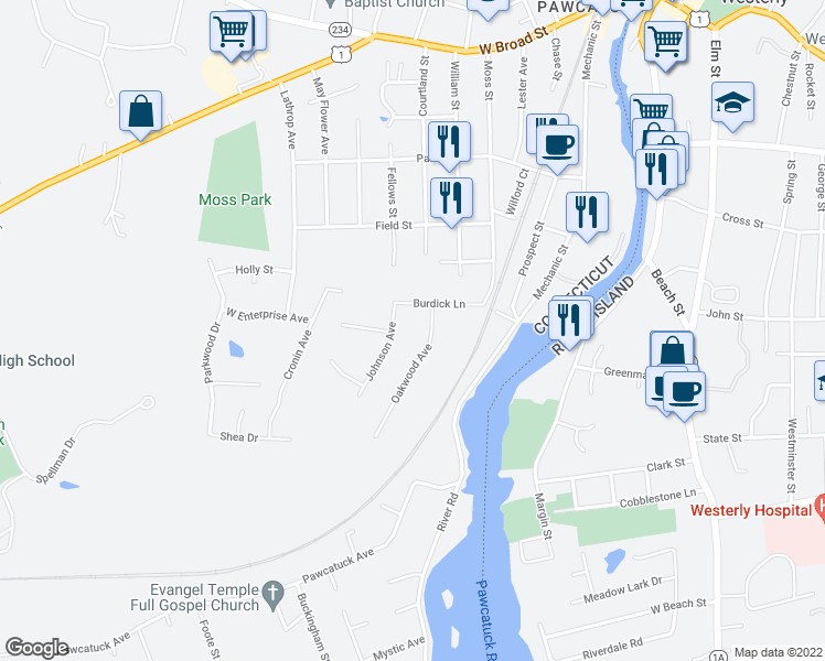 map of restaurants, bars, coffee shops, grocery stores, and more near 8 Johnson Street in Pawcatuck