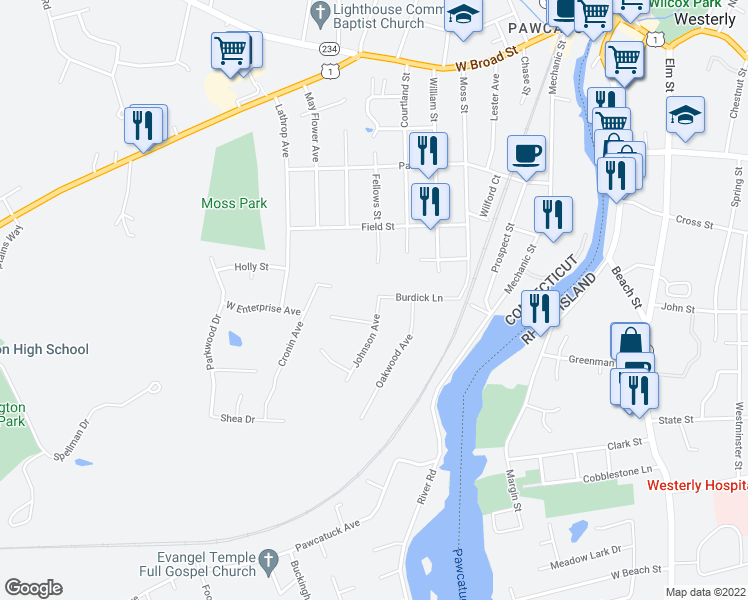 map of restaurants, bars, coffee shops, grocery stores, and more near 28 Burdick Lane in Stonington