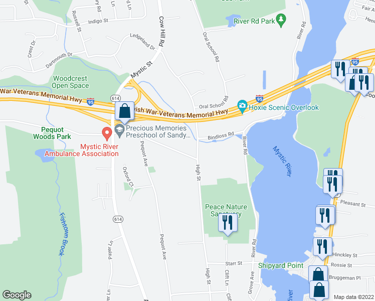 map of restaurants, bars, coffee shops, grocery stores, and more near 28 Sandy Hollow Road in Groton