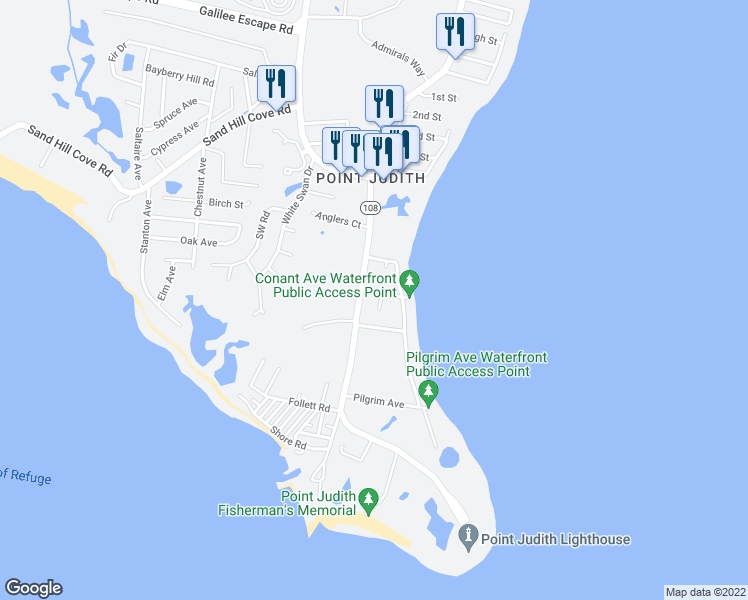 map of restaurants, bars, coffee shops, grocery stores, and more near 7 Conant Avenue in Narragansett