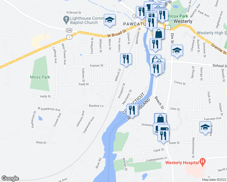 map of restaurants, bars, coffee shops, grocery stores, and more near 62 Moss Street in Stonington