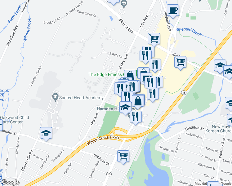 map of restaurants, bars, coffee shops, grocery stores, and more near 609 Mix Avenue in Hamden