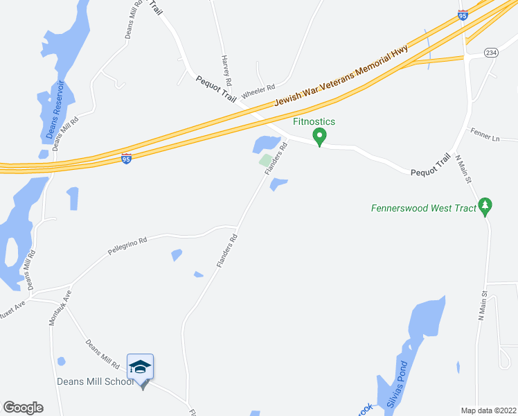 map of restaurants, bars, coffee shops, grocery stores, and more near 352 Flanders Road in Stonington
