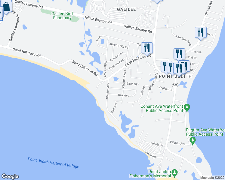 map of restaurants, bars, coffee shops, grocery stores, and more near 9 Maple Avenue in Narragansett