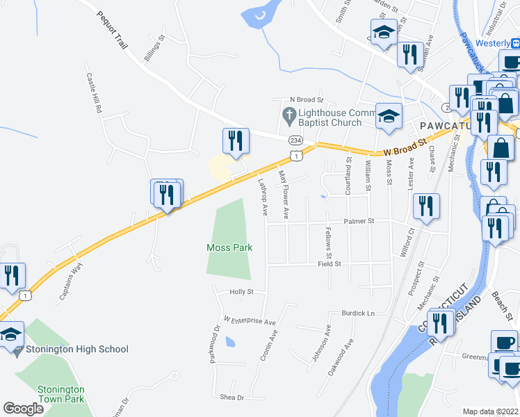 map of restaurants, bars, coffee shops, grocery stores, and more near 15 Lathrop Avenue in Pawcatuck