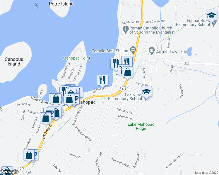map of restaurants, bars, coffee shops, grocery stores, and more near 4 Marina Drive in Mahopac