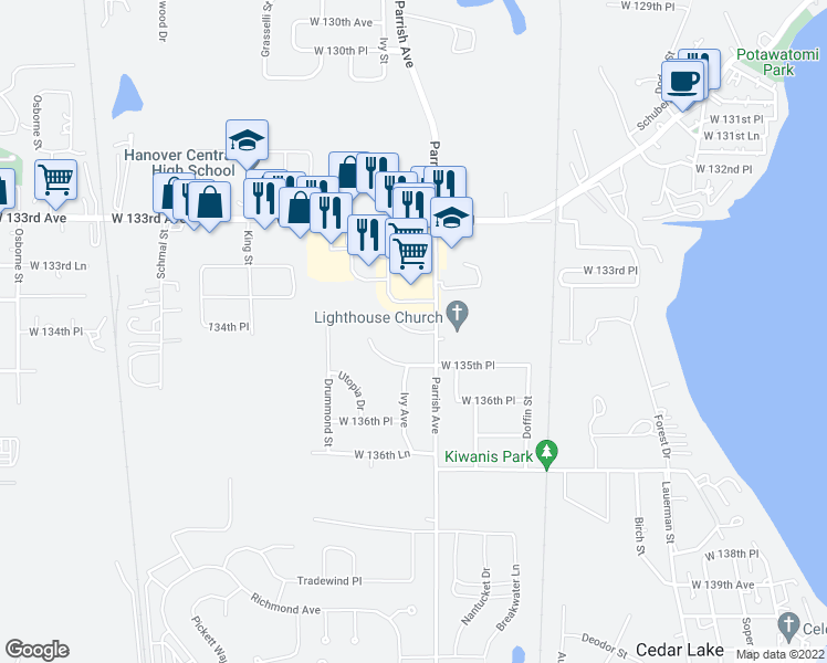 map of restaurants, bars, coffee shops, grocery stores, and more near 134th Place in Cedar Lake