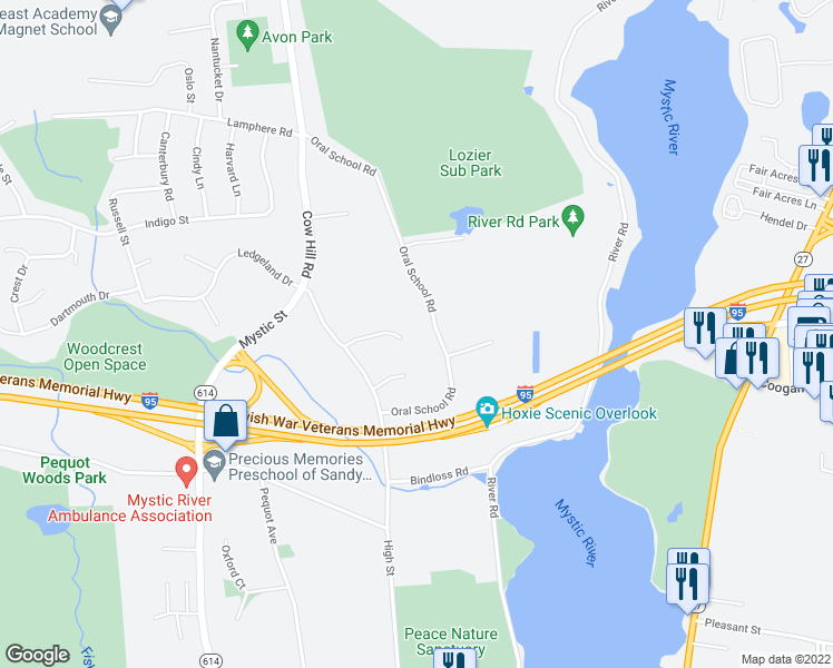 map of restaurants, bars, coffee shops, grocery stores, and more near 64 Hancock Drive in Groton