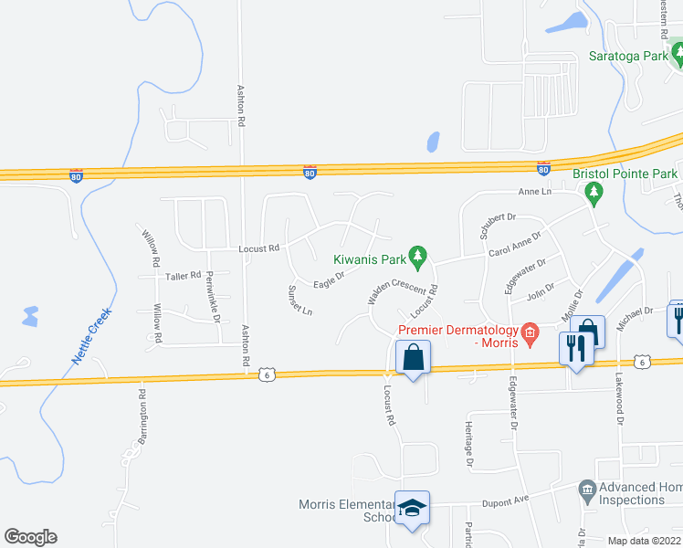 map of restaurants, bars, coffee shops, grocery stores, and more near Eagle Drive in Morris