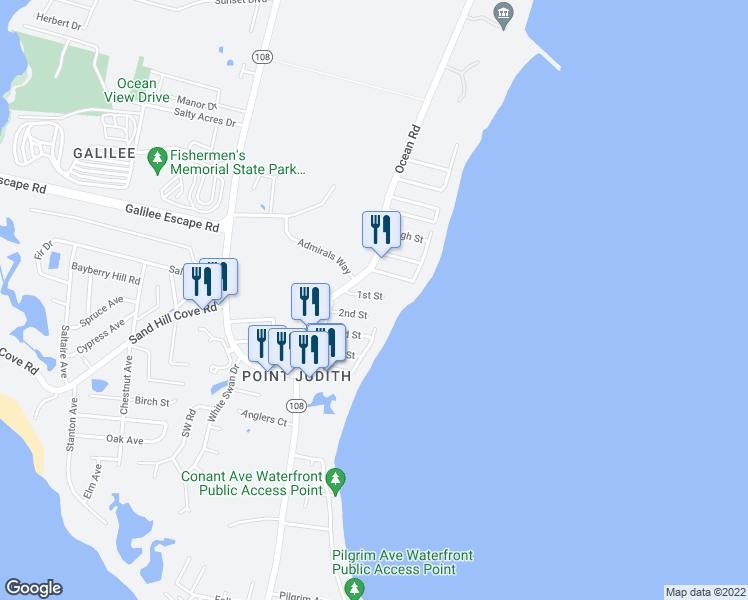 map of restaurants, bars, coffee shops, grocery stores, and more near 17 1st Street in Narragansett
