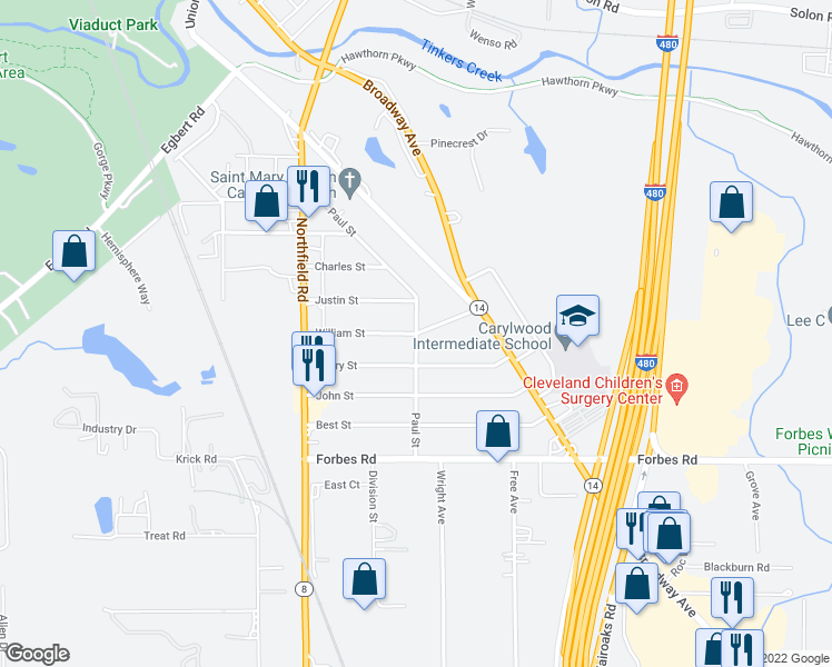 map of restaurants, bars, coffee shops, grocery stores, and more near Paul Street in Bedford