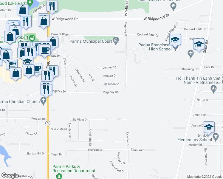 map of restaurants, bars, coffee shops, grocery stores, and more near 5708 Regency Drive in Parma