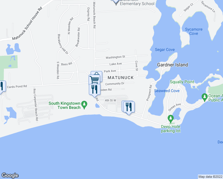 map of restaurants, bars, coffee shops, grocery stores, and more near Holden Road in South Kingstown
