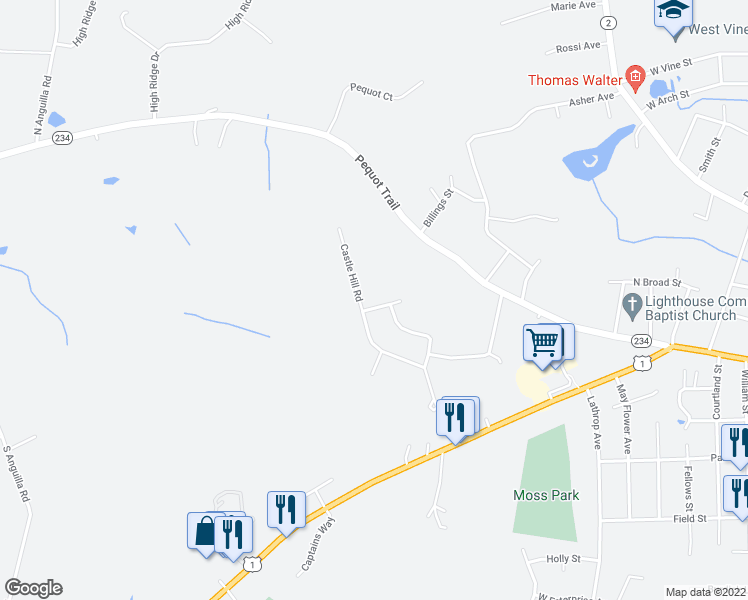 map of restaurants, bars, coffee shops, grocery stores, and more near 5 Rose Ridge Court in Stonington