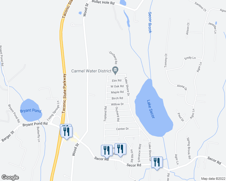 map of restaurants, bars, coffee shops, grocery stores, and more near 239 Maple Road in Mahopac