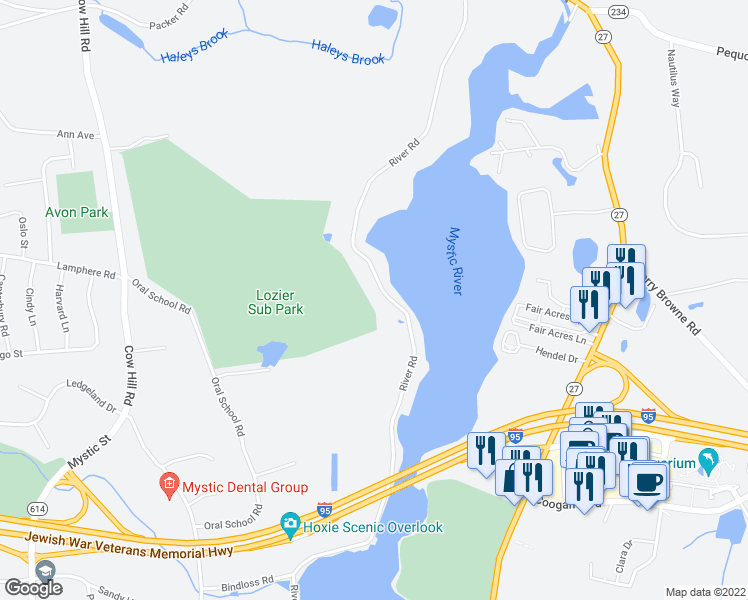 map of restaurants, bars, coffee shops, grocery stores, and more near 817 River Road in Groton