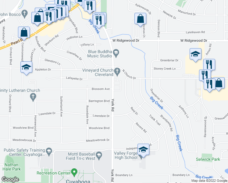 map of restaurants, bars, coffee shops, grocery stores, and more near in Parma Heights