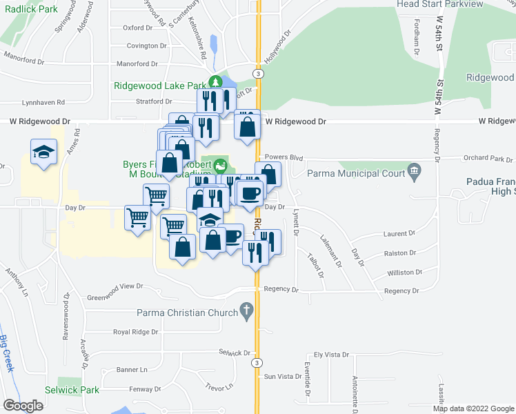map of restaurants, bars, coffee shops, grocery stores, and more near Ridge Road & Day Drive in Parma