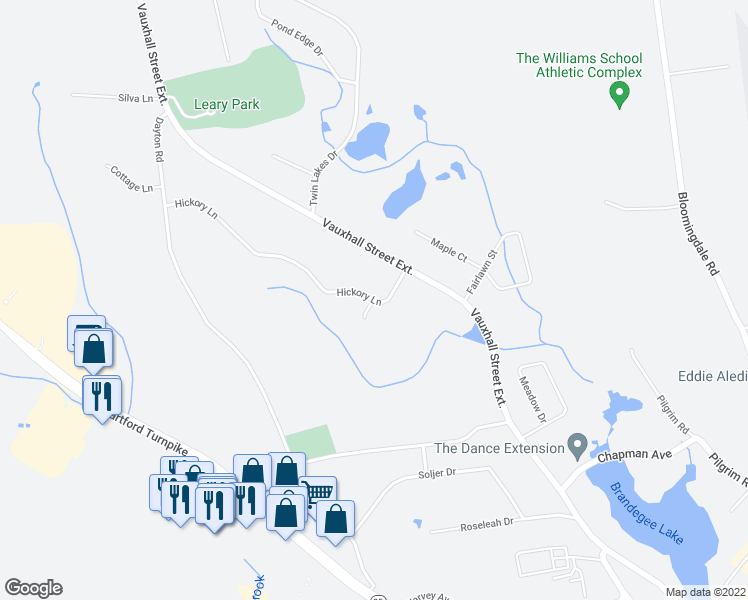 map of restaurants, bars, coffee shops, grocery stores, and more near 54 Hickory Lane in Waterford