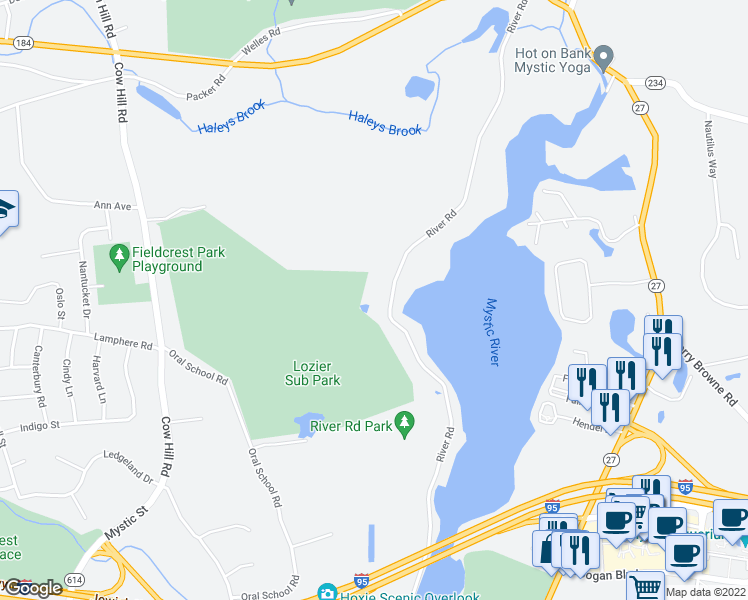 map of restaurants, bars, coffee shops, grocery stores, and more near 901 River Road in Mystic