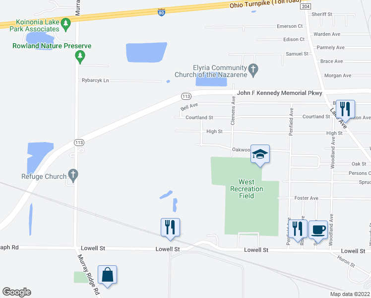 map of restaurants, bars, coffee shops, grocery stores, and more near 1100 Oakwood Drive in Elyria