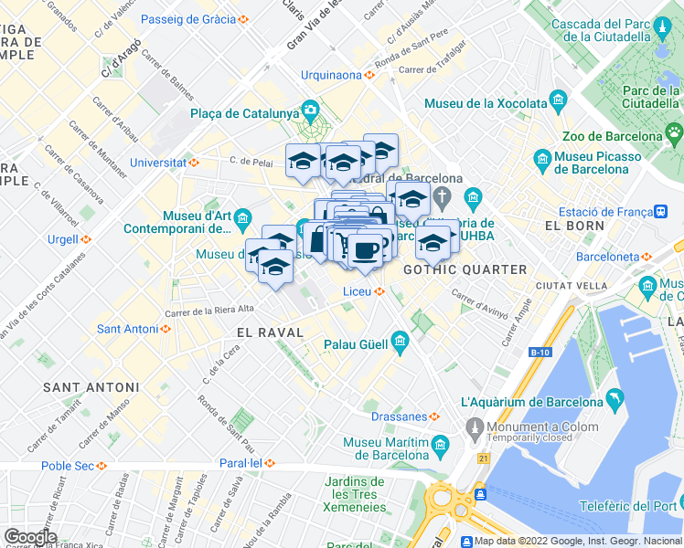 map of restaurants, bars, coffee shops, grocery stores, and more near 15 Carrer de les Cabres in Barcelona