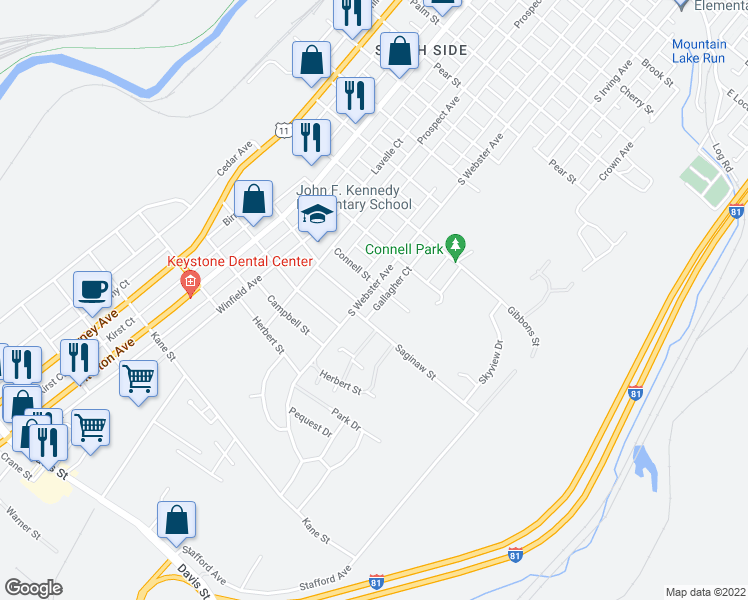 map of restaurants, bars, coffee shops, grocery stores, and more near 2253 South Webster Avenue in Scranton