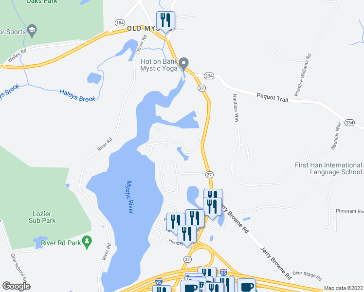 map of restaurants, bars, coffee shops, grocery stores, and more near 43 Clipper Point Road in Stonington