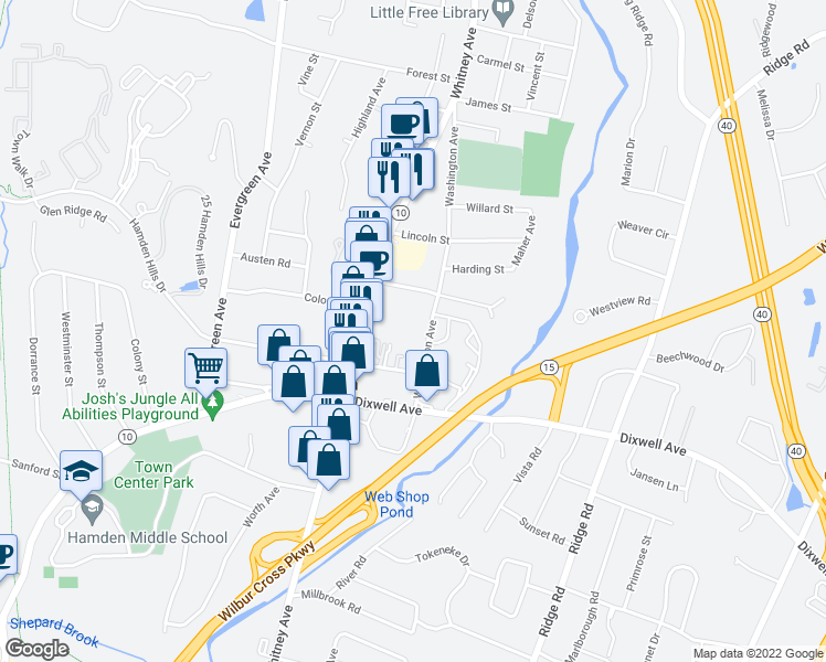 map of restaurants, bars, coffee shops, grocery stores, and more near 78 Washington Avenue in Hamden