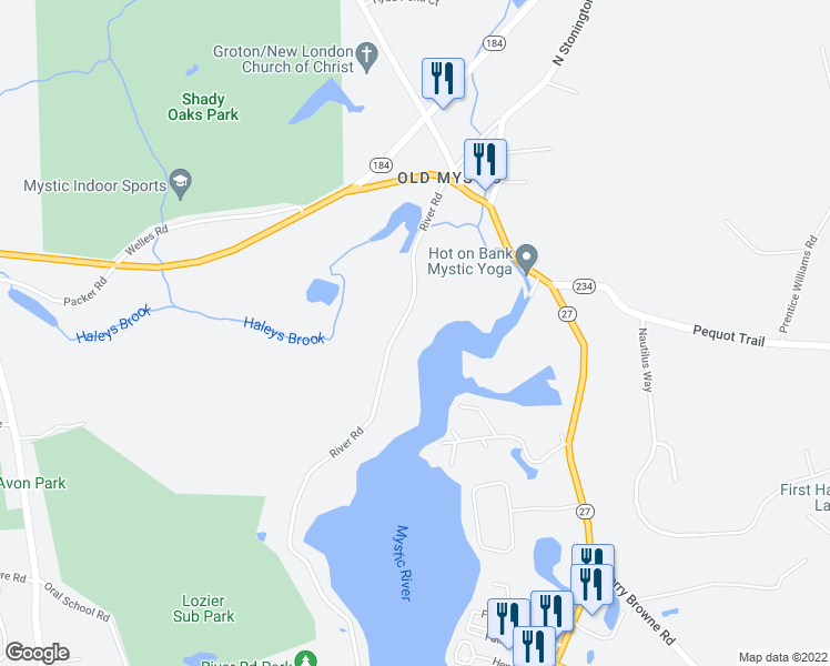 map of restaurants, bars, coffee shops, grocery stores, and more near 1154 River Road in Groton