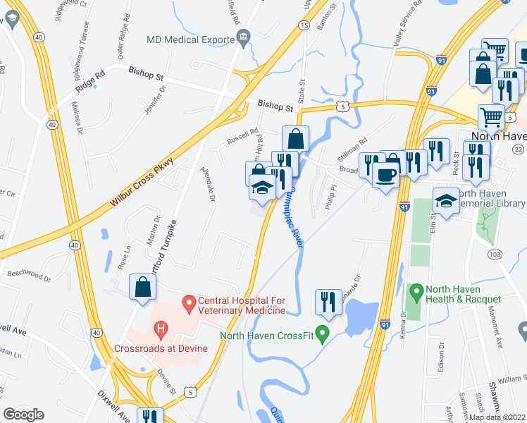 map of restaurants, bars, coffee shops, grocery stores, and more near 66 State Street in North Haven