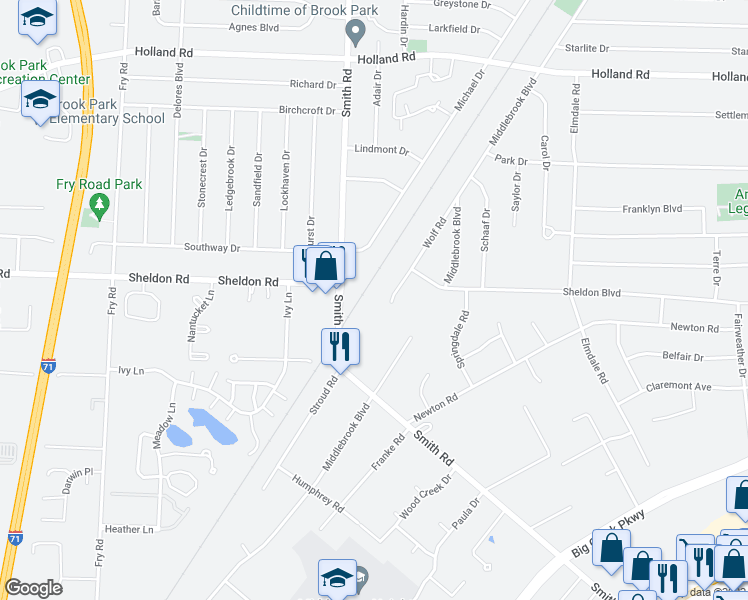 map of restaurants, bars, coffee shops, grocery stores, and more near 6526 Wolf Road in Brookpark