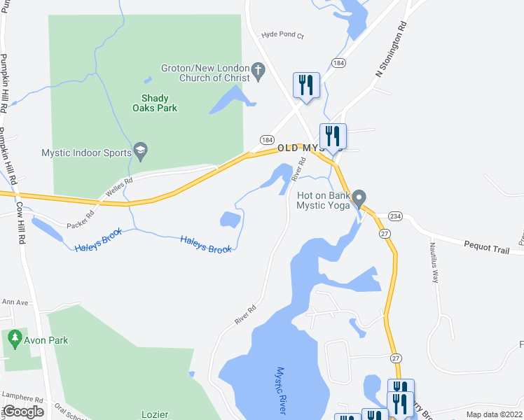 map of restaurants, bars, coffee shops, grocery stores, and more near 1201 River Road in Groton