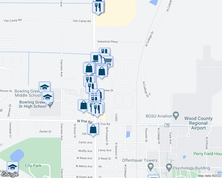 map of restaurants, bars, coffee shops, grocery stores, and more near 311 Parkview Drive in Bowling Green