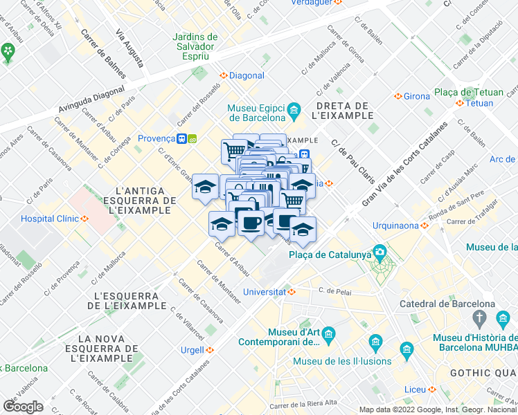 map of restaurants, bars, coffee shops, grocery stores, and more near 62 Carrer de Balmes in Barcelona