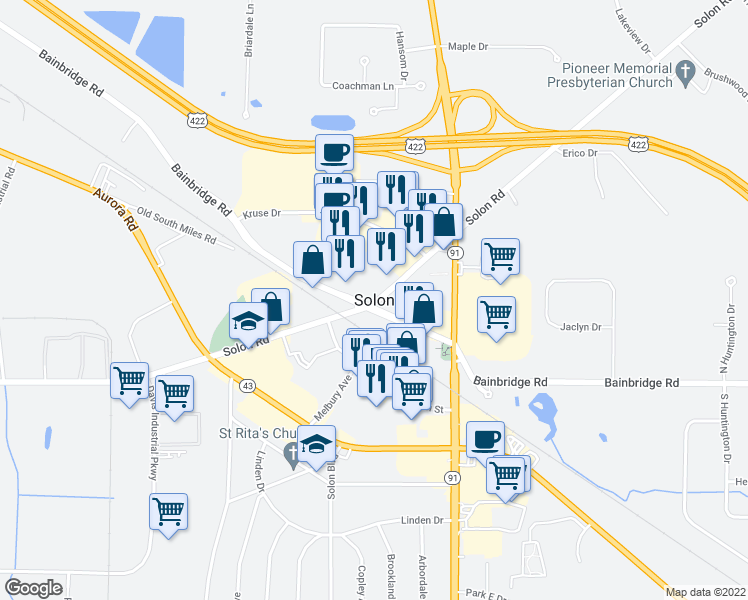 map of restaurants, bars, coffee shops, grocery stores, and more near in Solon