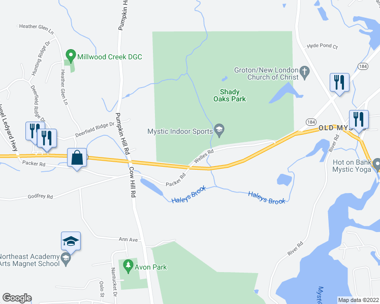 map of restaurants, bars, coffee shops, grocery stores, and more near 2800 Gold Star Highway in Mystic