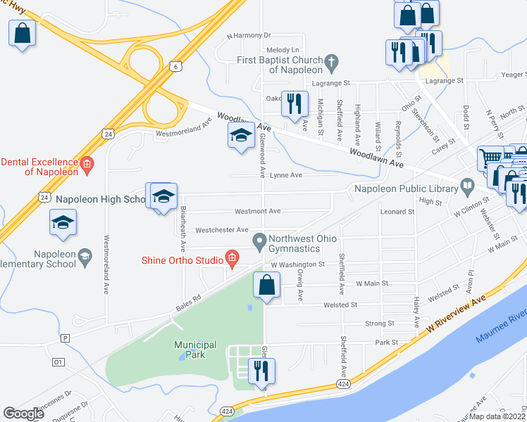 map of restaurants, bars, coffee shops, grocery stores, and more near Westmont Avenue in Napoleon