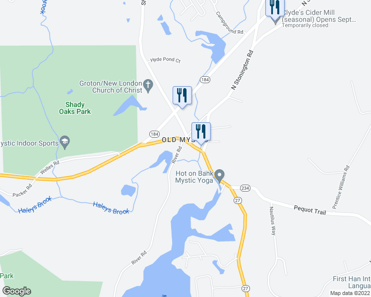 map of restaurants, bars, coffee shops, grocery stores, and more near 1300 River Rd in Mystic